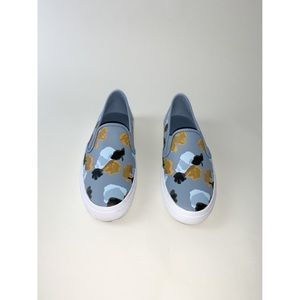 Coach chrissy leather blue floral sneaker slip on